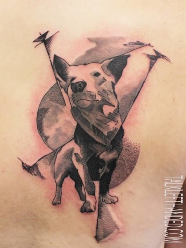 Dotwork Sweet Cute Dog With Geometric Tattoo