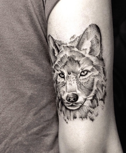 Dotwork Ultimate Wolf Face Back Sleeve Tattoo Design Idea