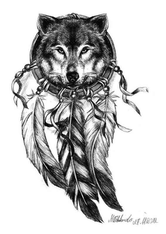 Dream Catcher Feather With Wolf Face Tattoo Design Idea