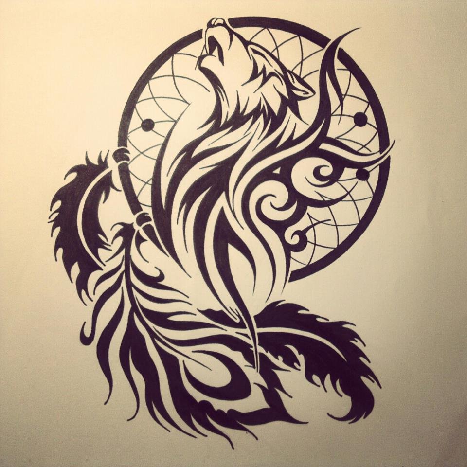 dream catcher tribal wolf head tattoo stencil idea. Black Bedroom Furniture Sets. Home Design Ideas