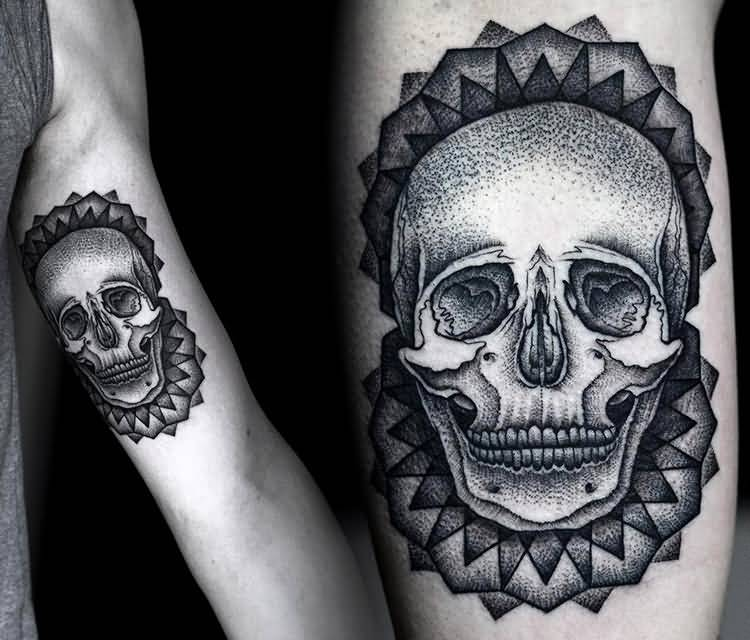Fantastic Inner Upper Arm Cool Dotwork Skull With Flower Tattoo