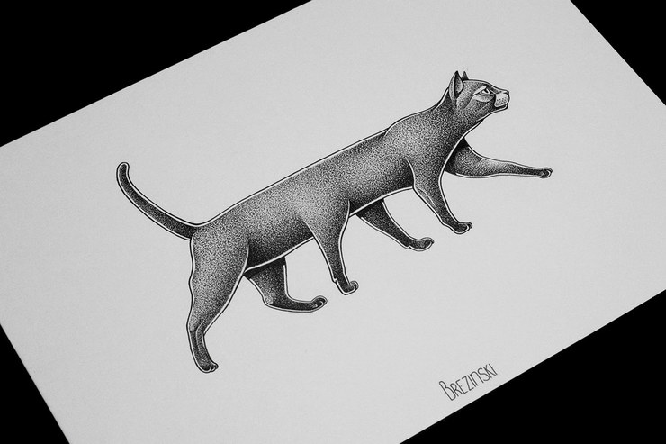 Fantastic Nice Dotwork Grey Ink Big Cat Stencil Tattoo Design