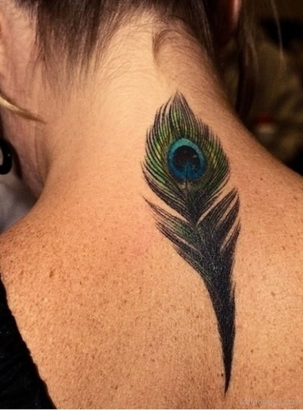 Fantastic Upper Back Nice Peacock Feather Tattoo