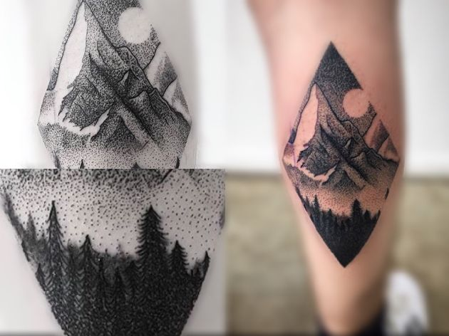 Fantastic Dotwork Forest Tree Tattoo