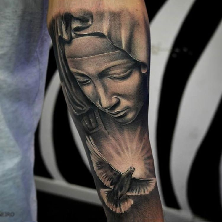 Flying Awesome Dove Bird With Brilliant Saint Mary Mother Face Of God Lower Sleeve Tattoo