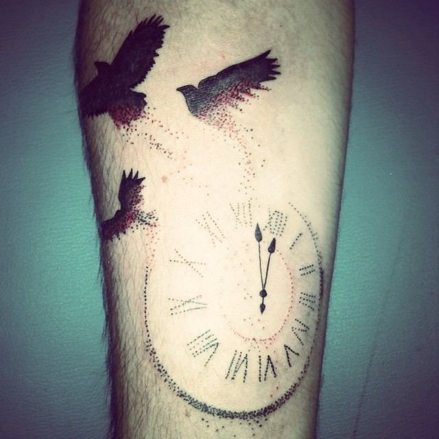 Flying Birds With Brilliant Clock Tattoo Design Idea