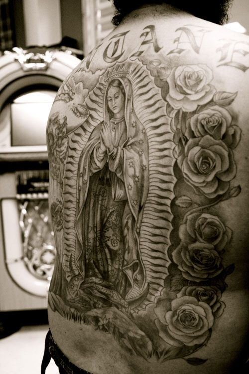 Full Back Siant Mary Mother In Frame Tattoo Design With Nice Roses
