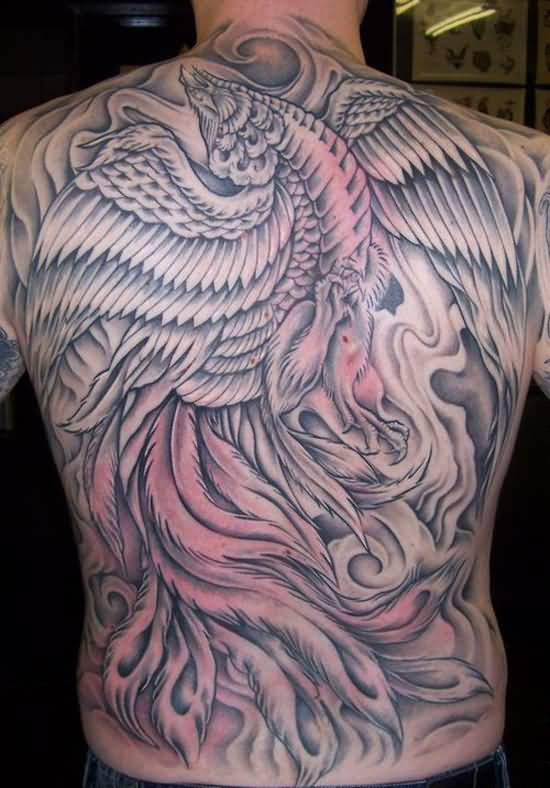 Full Back Simple Big Phoenix Tattoo Design For Handsome Cool Men