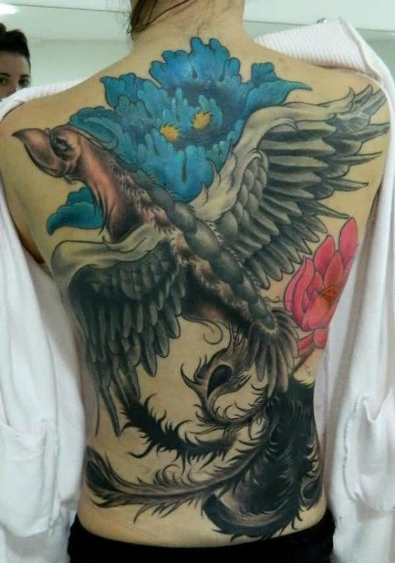 Full Back Simple Big Phoenix Tattoo Design With Big Simple Flower
