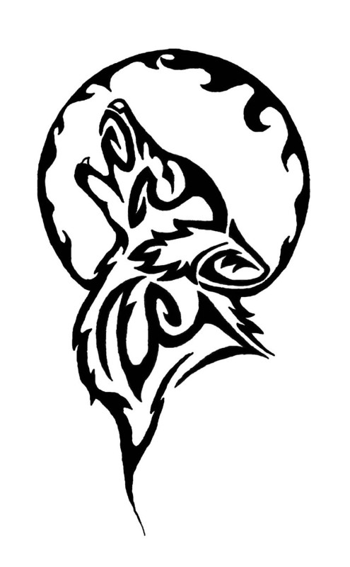Full Circle With Wolf Howling Stencil Tattoo Design