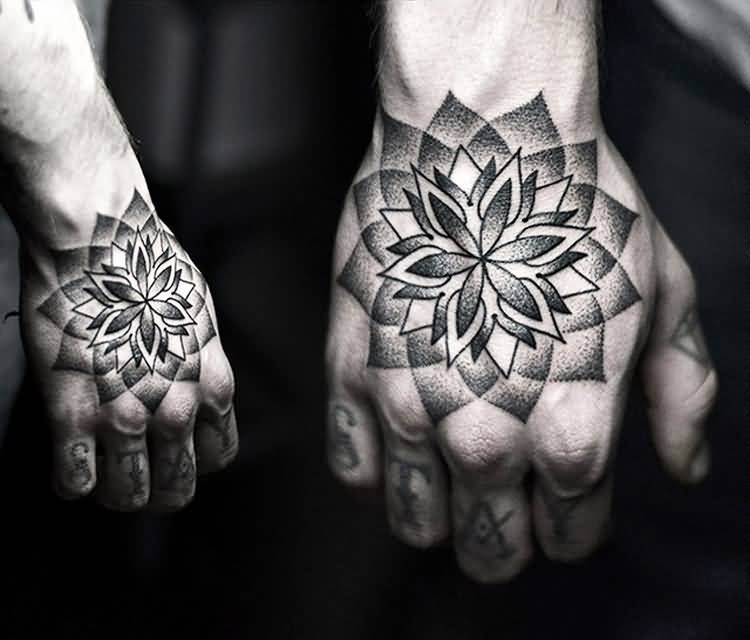 Full Hand Cover Up With Simple Dotwork Nice Flower Tattoo
