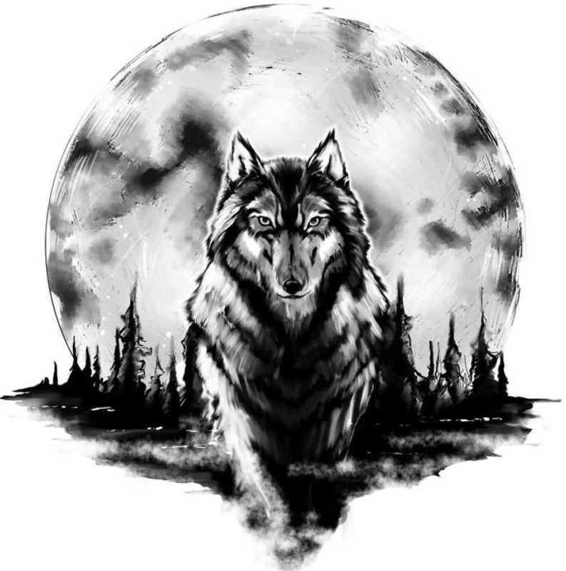 Full Moon And Cool Walking Wolf Stencil Tattoo