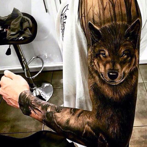 Full Sleeve Awesome Forest View And Angry Wolf Face Tattoo For Men