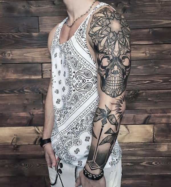 Geometric Arrow With Upper Sleeve Mandala Flower And Skull Tattoo