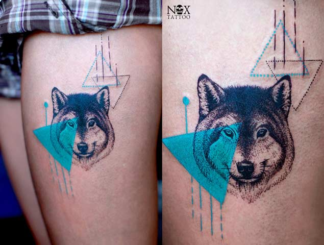 Geometric Sea Blue Triangle With Amazing Wolf Face Tattoo Design For Thigh
