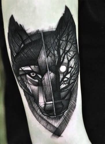 Geometric Tree Wolf Face Tattoo Design For Sleeve