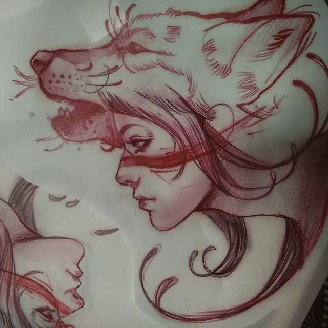 Girl Head On Wolf Angry Face Tattoo Stencil