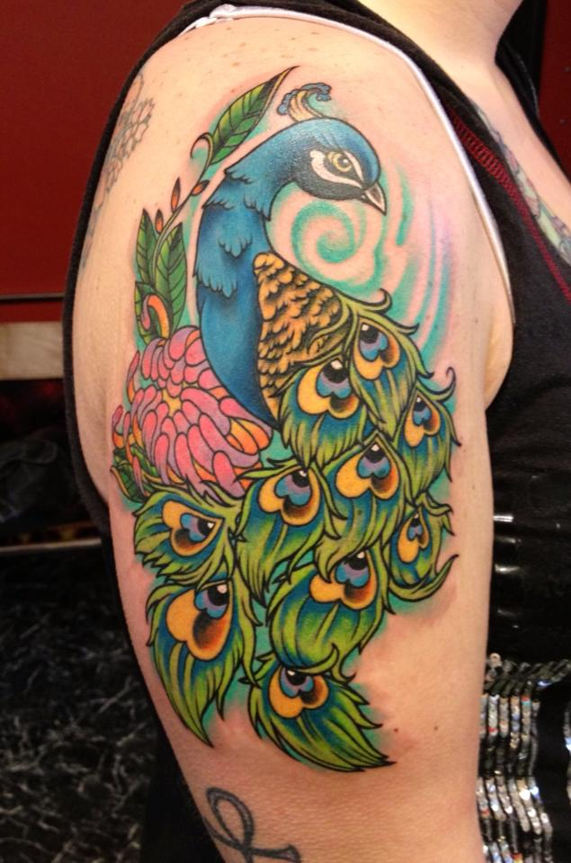 25c25cf8c Girl Right Shoulder Cover Up With Simple Peacock Feather Tattoo