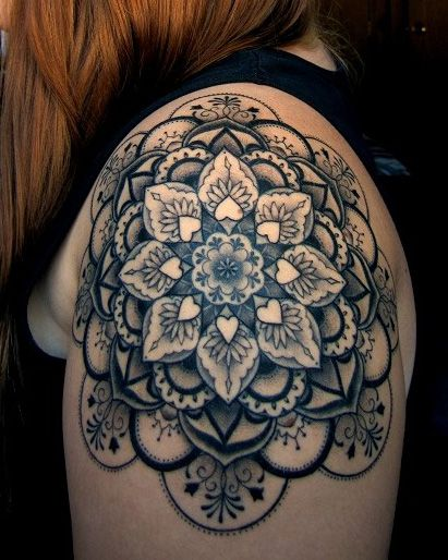 Girl Shoulder Another Best Cool Mandala Big Flower Tattoo