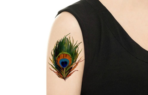 Girl Shoulder Awesome Peacock Feather Tattoo