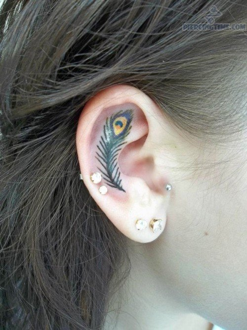 Girl Show Inside Ear Peacock Feather Tattoo