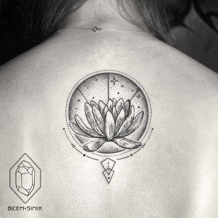 Girl Show Upper Back Nice Amazing Lotus With Dotwork Moon Tattoo