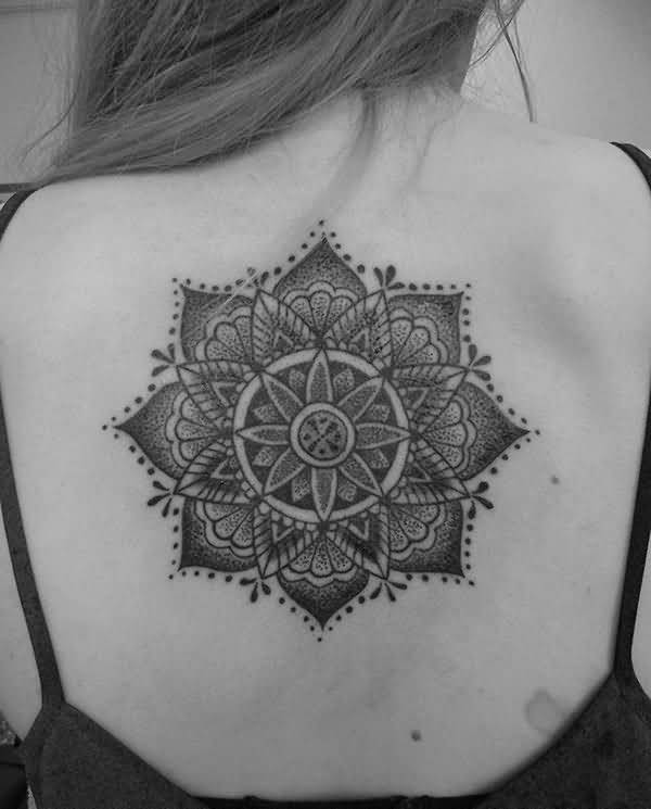 Girl Showing Her Cool Mandala Back Tattoo