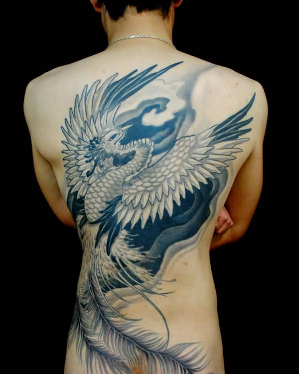Grey Ink Big Feathers And Phoenix Tattoo For Men