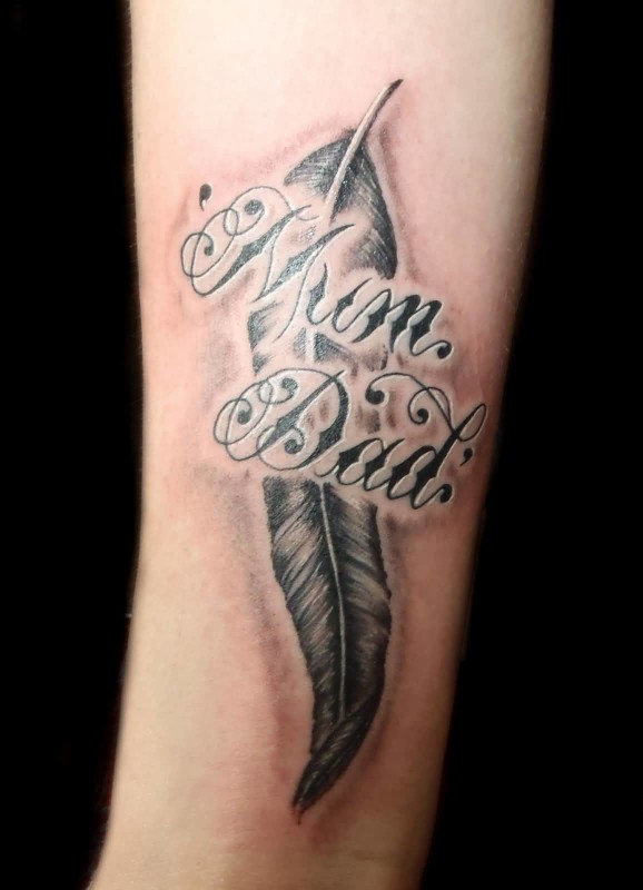 Grey Ink Feather With Mom Dad Amazing Tattoo