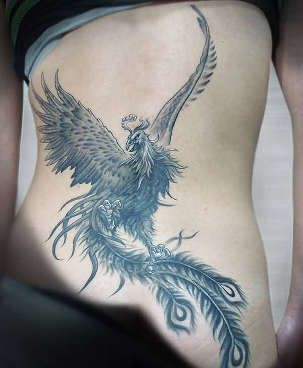 Grey Ink Fighting Mood Phoenix Tattoo Design