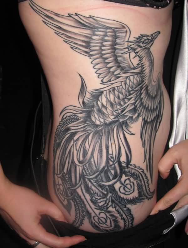 Grey Ink Nice Phoenix Tattoo Design For Girl