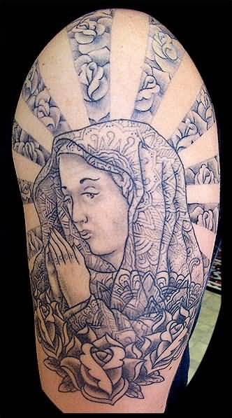 Grey Ink Roses With Nice God Mother Praying Tattoo Picture