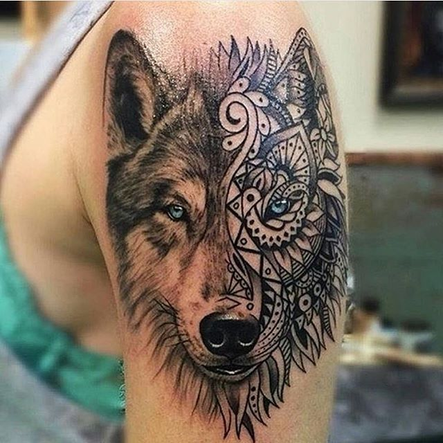 Half Dotwork And Half Geometric Tattoo On Shoulder