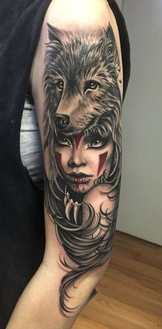 Half Sleeve Wolf Wirh Attractive Girl Face Tattoo