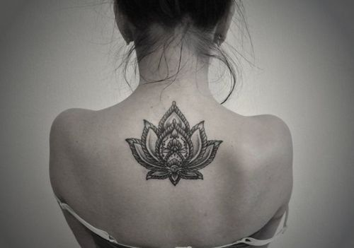 Hot Girl Upper Back Nice Mandala Lotus Flower Tattoo