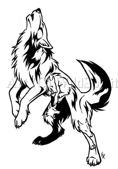 Howling Tribal Style Awesome Wolf Stencil Tattoo