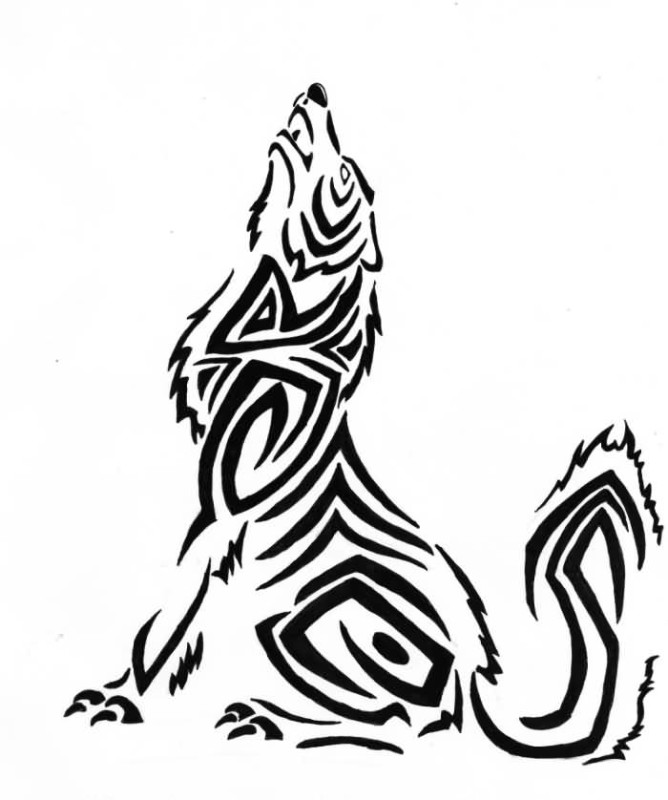 Incredible Awesome Howling Wolf Tattoo Stencil Design