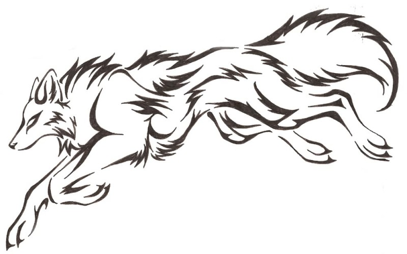 Jumping Tribal Black Ink Nice Wolf Tattoo Stencil Design