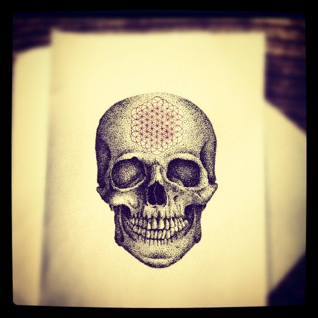 Laughing Dotwork Skull Stencil Tattoo