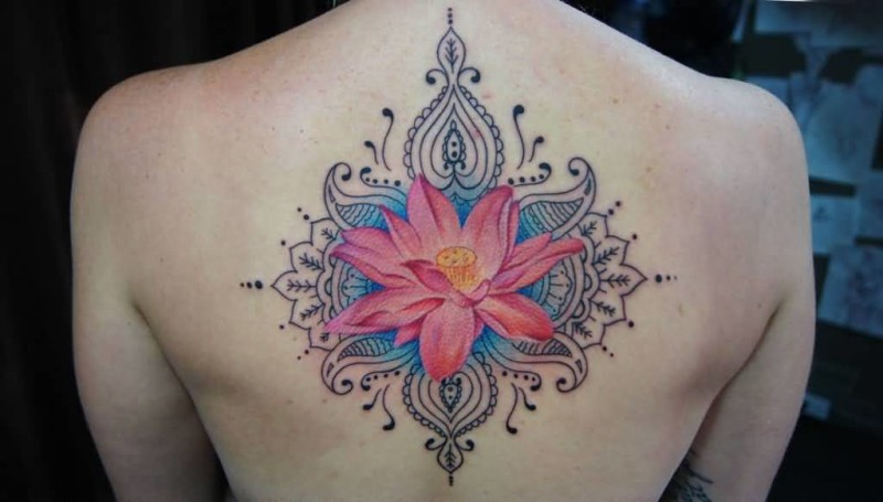 Lovely Nice Upper Back Lotus Flower Tattoo Of Mandala