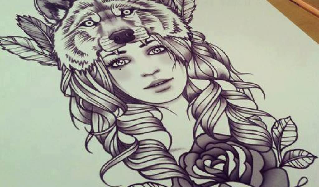 Lovely Rose And Simple Wolf Face Tattoo Design Stencil