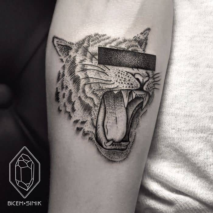 Lower Arm Simple Hide Eyes Dotwork Tiger Face Tattoo