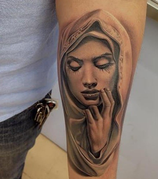 Lower Inner Arm Cover Up With Brilliant Close Eyes Saint Mary Mother Face Of God Tattoo Design For Men