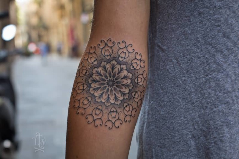Lower Sleeve Simple Grey Ink Mandala Tattoo Design Ideas