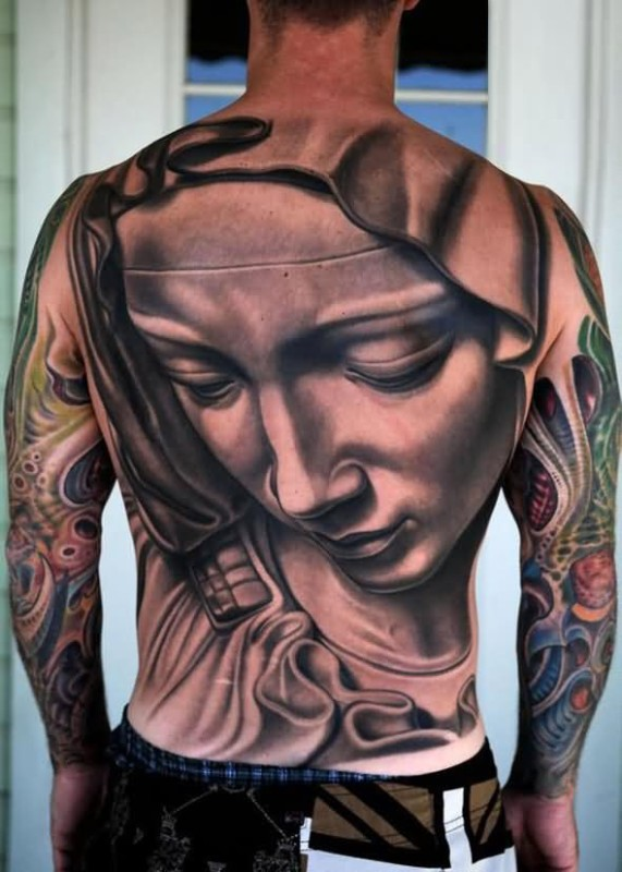 Men Full Back Classical Awesome 3D Saint Mary God Mother Face Tattoo