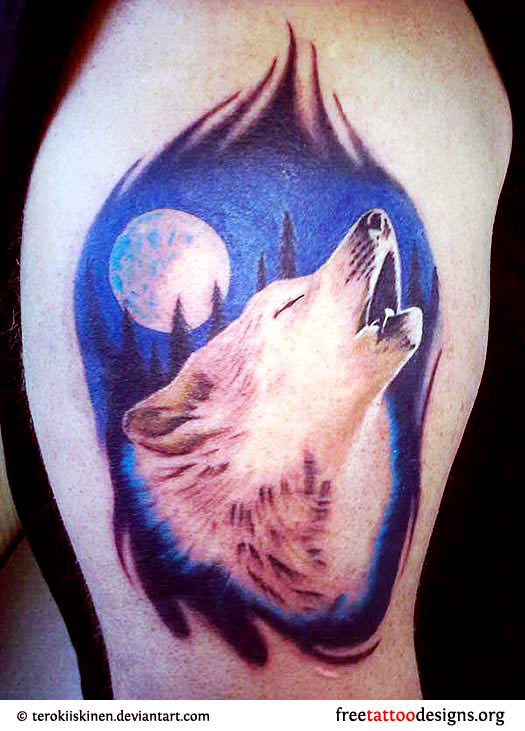 Men Shoulder Cover Up With Nice White Moon And Wolf Face Tattoo
