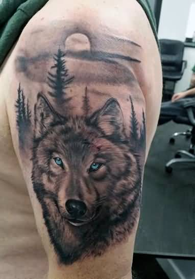 Men Shoulder Cover Up With Simple Wolf Face Tattoo Design With Forest View And Moon