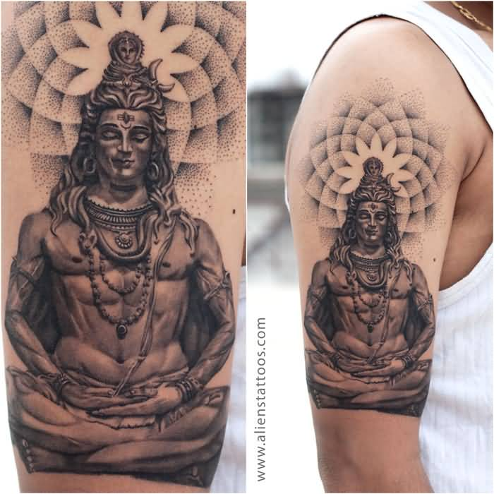 Men Show Lord Shiva With Dotwork Flower Tattoo On Shoulder