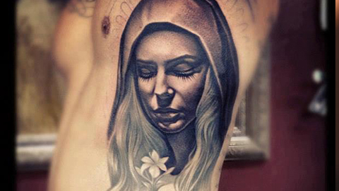 Men Show Rib Side Saint Mary Mother Tattoo Of Nice Face