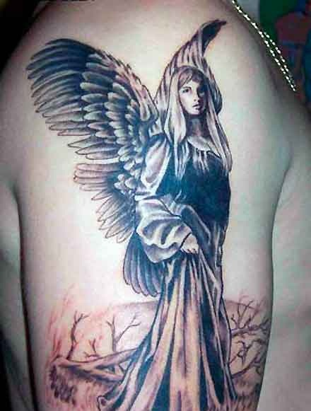 Men Showing Her Right Shoulder Saint Mary Mother With Wings Tattoo
